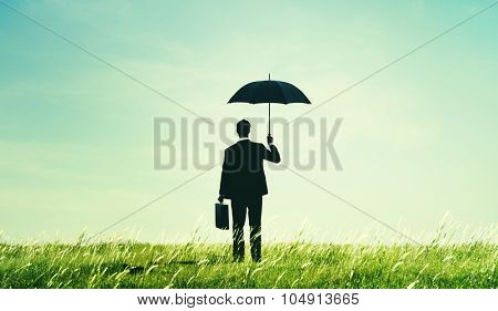 Businessman Umbrella Protection Risk Freedom Concept
