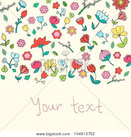 Flowers text placeholder color doodle hand drawn  vector illustration poster