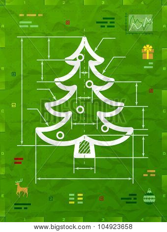 Christmas Tree Symbol As Technical Blueprint Drawing