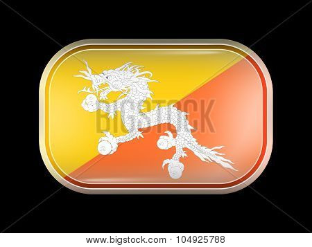 Bhutan Variant First Flag. Rectangular Shape with Rounded Corners. This Flag is One of a Series of Glass Buttons poster