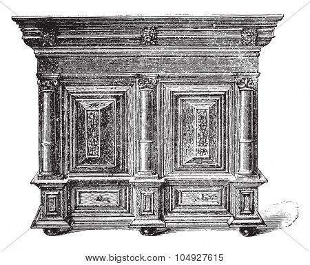 Dutch furniture carved wooden seventeenth century, vintage engraved illustration. Industrial encyclopedia E.-O. Lami - 1875.