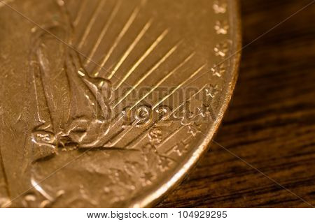 1924 (word) On Us Gold Coin Saint-gaudens