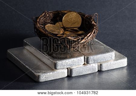 Silver Bars With Nest Egg Of Gold Eagles