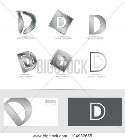 Letter D Silver Logo Icon Set