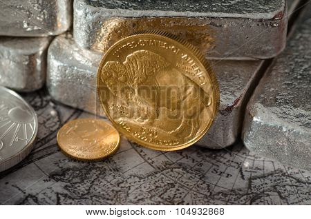 United States Gold Buffalo Coin With Silver Bars & Map