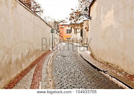 A Beautiful Street In Prague, Picture Made In Winter