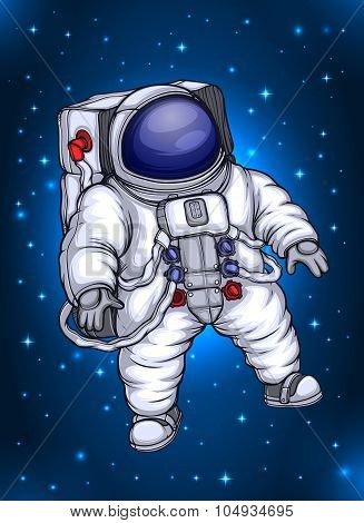 Astronaut floating in  stary space