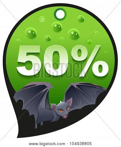 Horrible Halloween discount sale. Coupon 50 percent discount consumerism. Bat