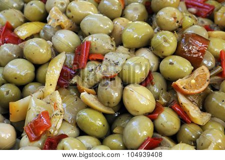 Close Up View Of Seasoned Green Olives
