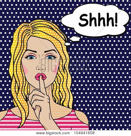Blonde Girl Says Shhh Pop Art Comics Style, Vector Retro Woman Putting Her Forefinger on Lips