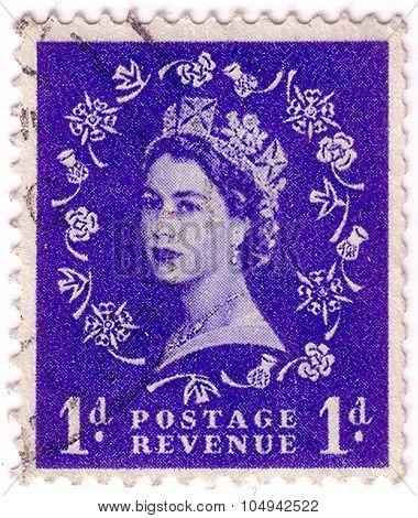 United Kingdom - Circa 1952: A Stamp Printed In United Kingdom Shows Queen Elizabeth Ii, Circa 1952.