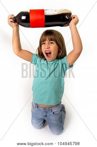 Crazy Little Female Child Holding Up Big Cola Soda Bottle Excited And Out Of Control  In Children Su