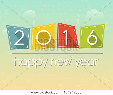 happy new year 2016 over sky background