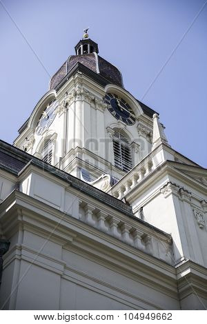 Protestant church clock tower in Morges, Switzerland