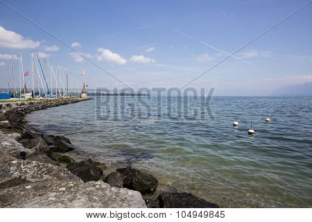 View on the geneva lake - lac Leman - on a sunny day