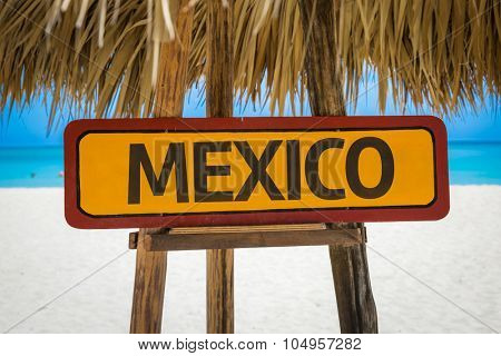 Mexico sign with beach background