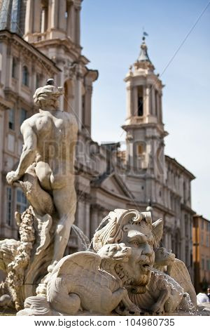 Classical Baroque statue with baroque church background, Roma Italy