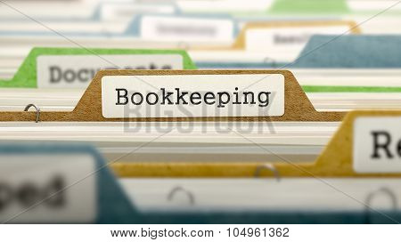 File Folder Labeled as Bookkeeping.