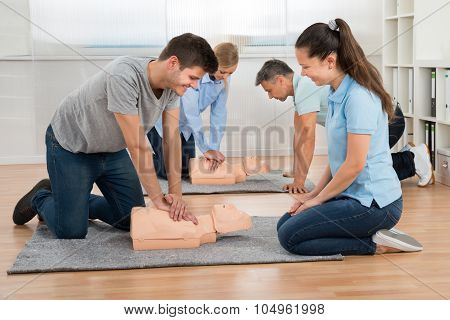 Group Of Students Learning Cpr