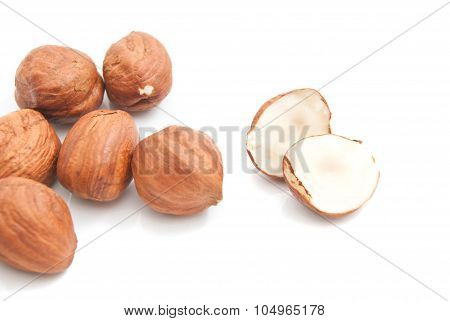 Some Delicious Hazelnuts On White