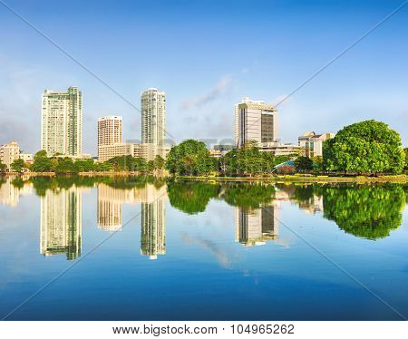 Colombo skyline. View from the Beira lake. Sri Lanka