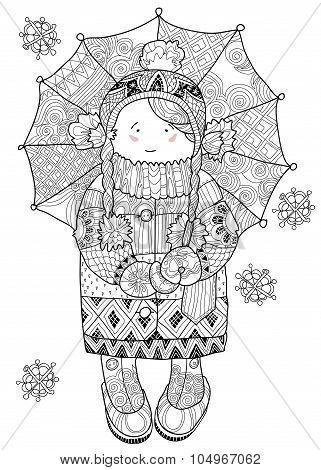 Girl under umbrella in winter hand drawn doodle.