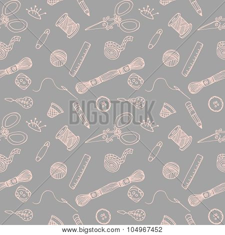 Sewing hand drawn vector pattern