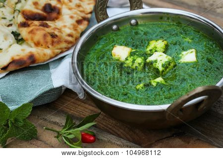 Palak Paneer Indian vegetarian curry made with spinach sauce
