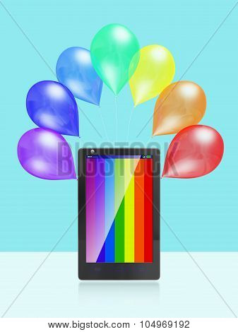 Colorful Stripes Mobile Screen and Balloons