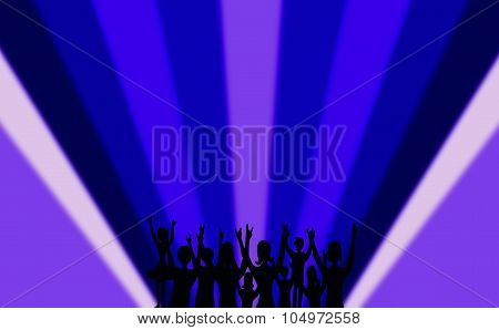 Blue background with people