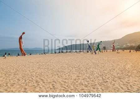 April 15, 2014: At Noon On The Beach In Dameisha, A Group Of Unidentified People Playing, It Is Not