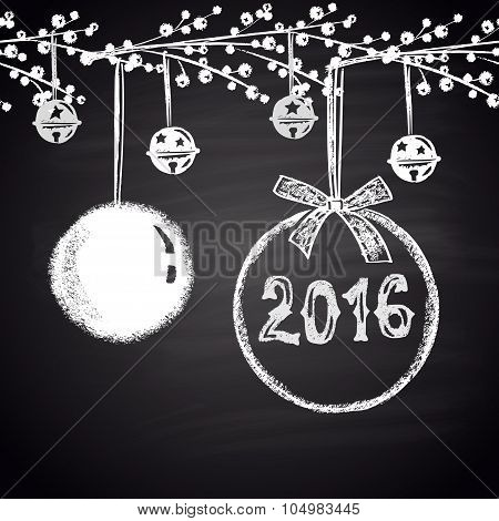 Chalk drawn horizontal seamless pattern with Christmas balls and 2016. Happy New 2016 Year theme.