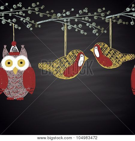 Colored chalk drawn horizontal seamless pattern with owl in hat and birds. Happy New 2016 Year theme