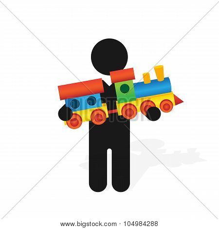 Figure Man Holds Childrens Color Toy Train With Carriages