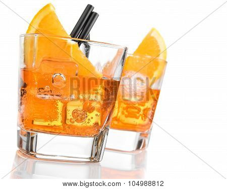 Detail Of Glasses Of Spritz Aperitif Aperol Cocktail With Orange Slices And Ice Cubes