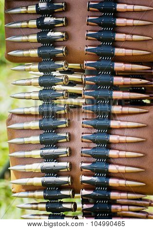 Bullets In Ammunition Belt For Machine Gun
