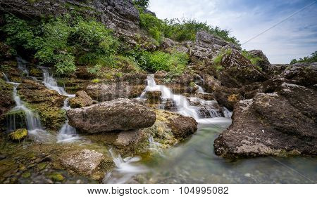 Rocky canyon with waterfalls of Cijevna river. Podgorica, Montenegro. poster
