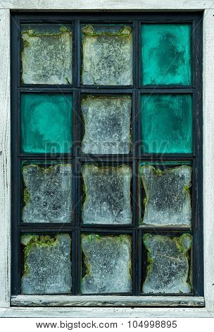 The Old Dilapidated Window Of A House
