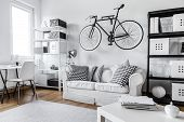 Modern black and white one room apartment poster