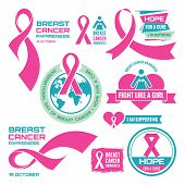 19 October - International Day of Breast Cancer - creative vector badges set. Breast cancer awareness. Hope for a cure. I am supporting. Pink ribbon sign. Vector badges collection. Design elements. poster