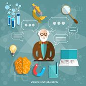 Science and education professor theory teacher international graduation concept university school objects college lecture vector illustration poster