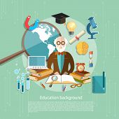 International Education professor teachers in the classroom e-learning school lessons college university vector illustration poster