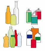 Cartoon style vector illustrations of recycling household items glass bottles and jars cans tins plastic bottles and containers and cartons poster