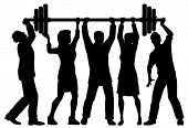 EPS8 editable vector silhouette of a business team working together to lift a heavy weight barbell with all figures as separate objects poster