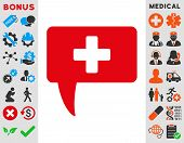 Medical Answer vector icon. Style is bicolor flat symbol, intensive red and black colors, rounded angles, white background. poster