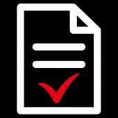 Valid Document vector icon. Style is bicolor flat symbol, red and white colors, rounded angles, black background. poster