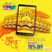 illustration of ten headed Ravana for mobile application sale promotion with hindi text meaning Dussehra poster