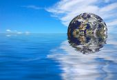 futuristic earth rise background 3d rendered illustration poster