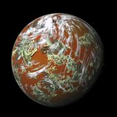 orange 3d rendered planet on white background with clouds poster