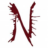 The letter N alphabet dripping with blood ink splash. Vector illustration. Red fonts isolated on a white background. poster
